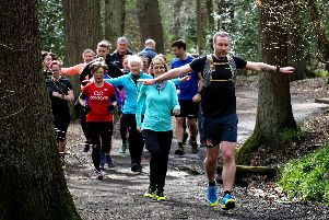 Big Running Weekend: runners practice their drills on the way through Ecclesall Woods
