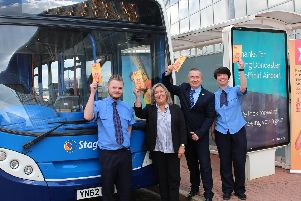 Stagecoach Express service (from left) Driver, Lewis Dalton operations manager, Dawn Murphy, commercial and passenger experience director, Ian Smith and driver, Holly Earnshaw