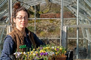 L findsay Berry, head gardener, with flowers grown at Haddon Hall