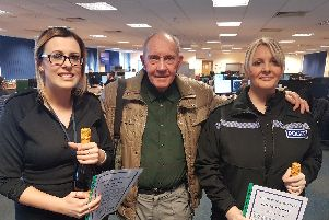 From L-R - Jemma Edwards, Mike Allen and PC Melaine Fergusson.