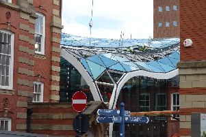 Glass panels are fitted to The Heartspace.