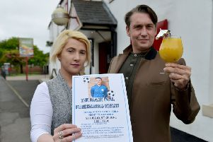 Jade Bellerby and Laurence Mason outside of The Black Bull Old Shotton. Picture by FRANK REID
