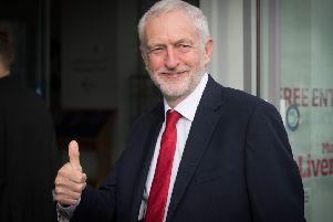 Labour leader Jeremy Corbyn gives a thumbs. Picture: PA.