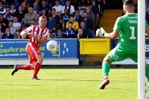 Lee Cattermole scores his second goal at AFC Wimbledon earlier this season