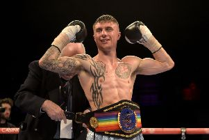 Anthony Nelson celebrates wining the Commonwealth Super Flyweight  title against Jamie Wilson.
