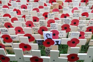 Remembrance crosses in the Westminster Abbey Field of Remembrance in London. Picture: PA.