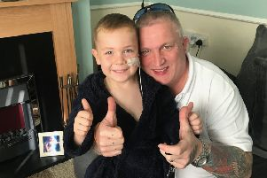 Kevin Hill of charity Bringing Back A Smile with Hartlepool youngster Leyton Anderson who is battling leukaemia.
