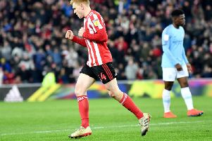 Duncan Watmore celebrates his goal in the 2-0 win over Manchester City Under-21s.