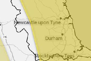 Met Office map showing the areas covered by the warning.