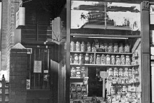 Bottles of sweets in the window of the West Park Post Office in 1969.