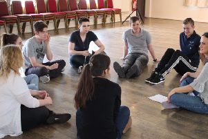 Fiona Martin with members of The Customs House Youth Theatre in rehearsals in 2016.