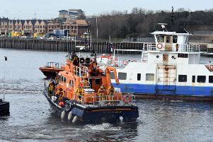 The lifeboat approaches the Spirit of the Tyne Shields Ferry.
