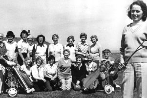 Captain of South Shields Golf Club Ladies, Avril Emslie, with competitors in the Ladies Spring Meeting held at South Shields course. in   May 1984.