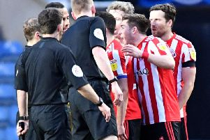Angry Sunderland players at the final whistle.