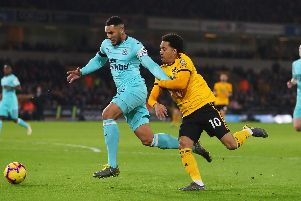 Jamaal Lascelles in action against Wolves on Monday night.