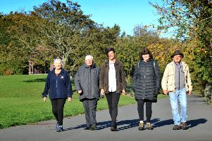 Parks Officer Jade Ridley, with Cllr Alan Kerr, and Friends of the Marine Park's Christine Calvert, Patricia Stephenson, and David Barber, in the North Marine Park.