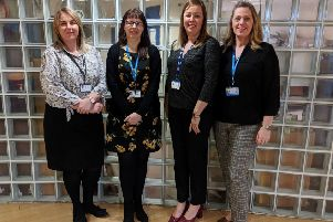 The Living With and Beyond Cancer team.  Left to right, Cancer Improvement Manager  Kelly Craggs, Living With and Beyond Cancer Facilitator Lynsey Clarke, and Project Co-ordinators Gail Foster and Leanne Rowell.