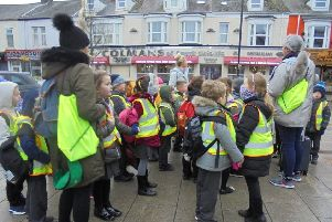 Children from Harton Primary School with Elizabeth Kane and teacher Amy Emmerson
