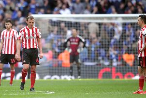 Lee Cattermole shows his dejection at Wembley.