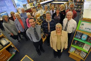 Coun Fay Cunningham with Whitburn Library's volunteers