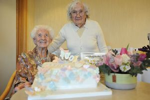 Celebrating her 100th birthday Doris Short, with best friend Sylvia Phillips, who also celebrates her 100th birthday.