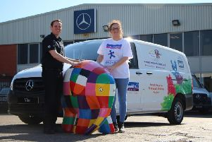 Matt Eyres,Business Development Manager at Bell Truck and Van with Ashley Elliott, Fundraising Team Manager at St Oswald's Hospice.