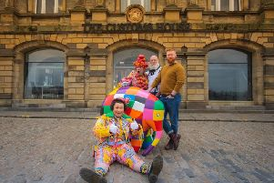 Customs House panto characters Dame Bella (Ray Spencer, back,'left) and Arbuthnot (David John Hopper, seated) with Paul Shriek (back, centre) and'Matt Fox (back, right) and Elmer.