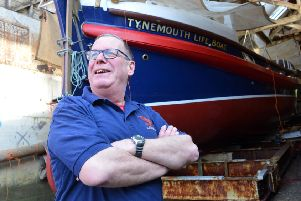 North East Maritime Trust chair Jerry Dudman with the finished Henry Frederick Swan Tynemouth Lifeboat