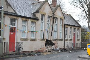 The  accident scene at All Saints Church Hall, Cleadon Village.