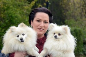 Carol Coxon with her dogs from left Georgie and Bentley