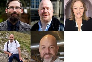 Clockwise from top left: Bevan Vaughan John de Villiers (Liberal Democrats), Colin Robert (Green Party), Sandra Duncan (Labour), Jason Diamond (Independent), Ian Armstrong (Conservative Party),