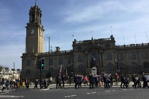 Marchers making their way back to their churches, past South Shields Town Hall.