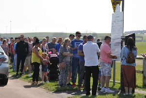 Crowds queuing to pay for parking on The Dragon at Bents Park, South Shields.