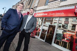 PG Legal's Phil Dean and Kevin Frampton who has acquired the Vodafone store in King Street, South Shields.