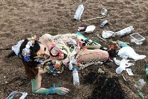 Philippa Gibbons used waste collected from beaches to decorate her model, Tiffany Harrison, as she used her final project to voice a message about the impact of waste plastic on the sea.