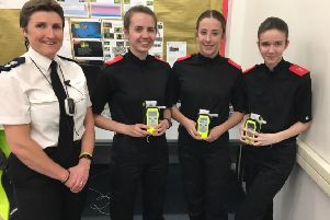 Chief Superintendent Sarah Pitt with South Shields police cadets Libby, Grace and Summer.