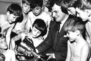 Alan Forrest, chairman of South Shields United Swimming Club, before club members took part in the club's annual gala at Derby Street Baths in  October 1965 .