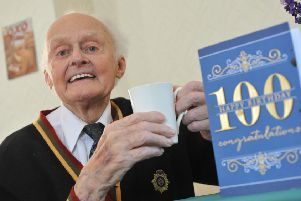 Ken Page celebrates his 100th birthday at Seahven Residential Home, Beach Road, South Shields.