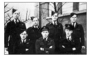 Pilot Flight Lieutenant Kenneth Robinson with his fellow RAF crew.
