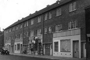 The changing face of Jarrow.  New block of shops, with self contained flats above, in High Street.