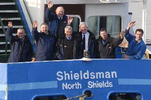 Crew says farewell to the Shieldsman. From left Harry Johnson, Gary Stobbs, Bill Lon , Thomas Bennett, Bill Jackson, Steve Burnip, Ray Douds.