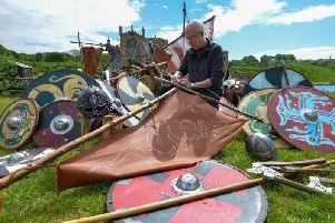 Props team leader Mark Rossi inspects some of the 3,000 weapons, shields and helmets used in the production of Kynren - an epic tale of England. Pic: North News.
