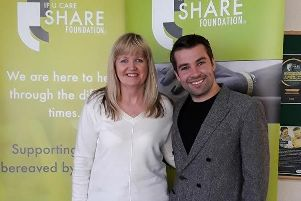 Joe McElderry pictured with Allison Younger, fundraising officer for the If U Care Share Foundation, after agreeing to become the charity's ambassador.