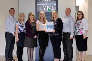 Port of Tyne staff with their continuing excellence award in the Better Health at Work awards. Pic: North News.