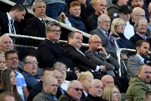 Mike Ashley, owner of Newcastle United watches from the stands during the Premier League match between Newcastle United and Leicester City at St. James Park on September 29, 2018 in Newcastle upon Tyne, United Kingdom.  (Photo by Stu Forster/Getty Images)