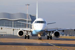 A Flybe flight prepares for takeoff at Doncaster Sheffield Airport. Picture: Chris Etchells