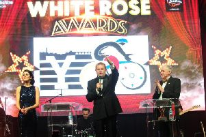 Welcome to Yorkshire chief executive Sir Gary Verity with BBC Look North's Amy Garcia and Harry Gration at the 2016 awards.