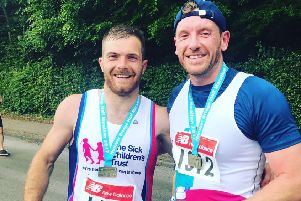 Doncaster Rugby League  player Liam Welham, with former colleague Lee Hall, ran the Hull Half Marathon to raise money for The Sick Children's Trust.