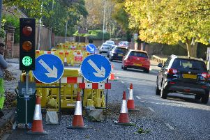 Temporary traffic lights, like those being used in Doncaster while a gas leak is mended