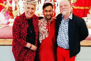 Karen with Rahul Mandal and Terry the Tash